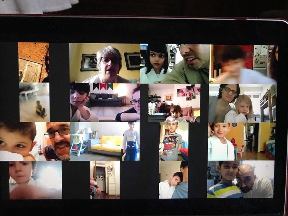 schermata del computer con tutti i bambini prescolari collegati per la video lezione di judo